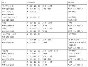 営業時間(2020.9最新)